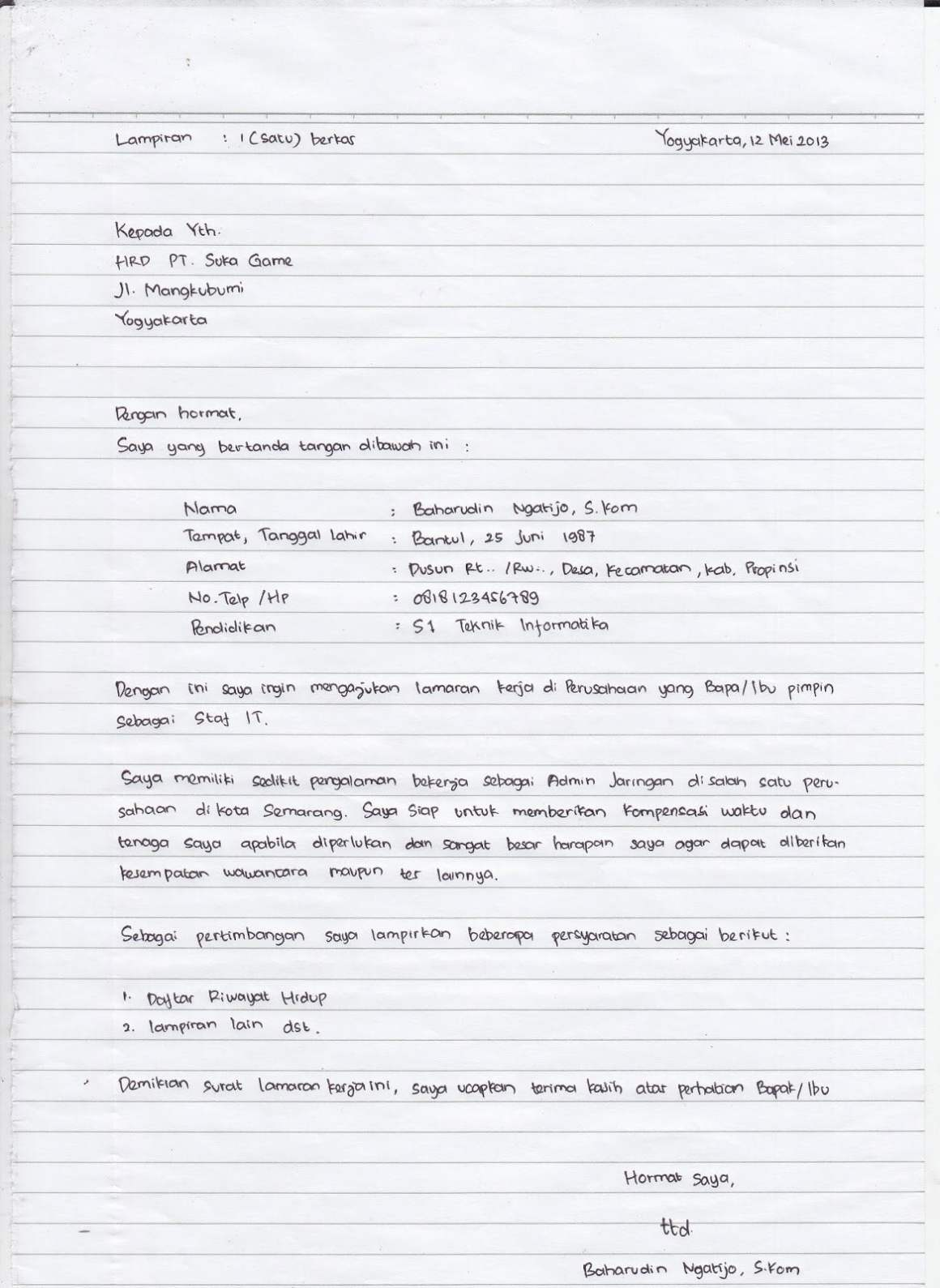 contoh surat lamaran(Sumber : anakUI.com)
