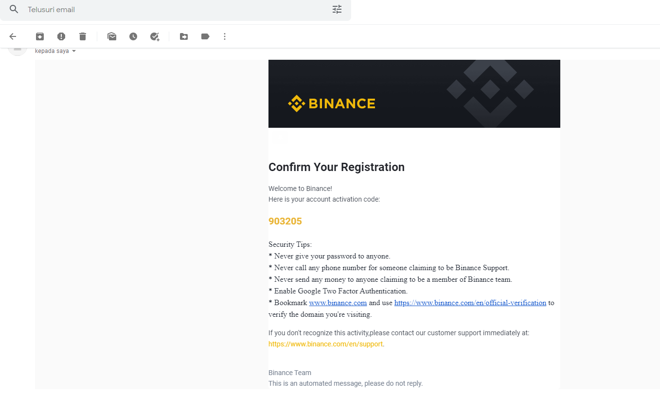kode verifikasi binance email