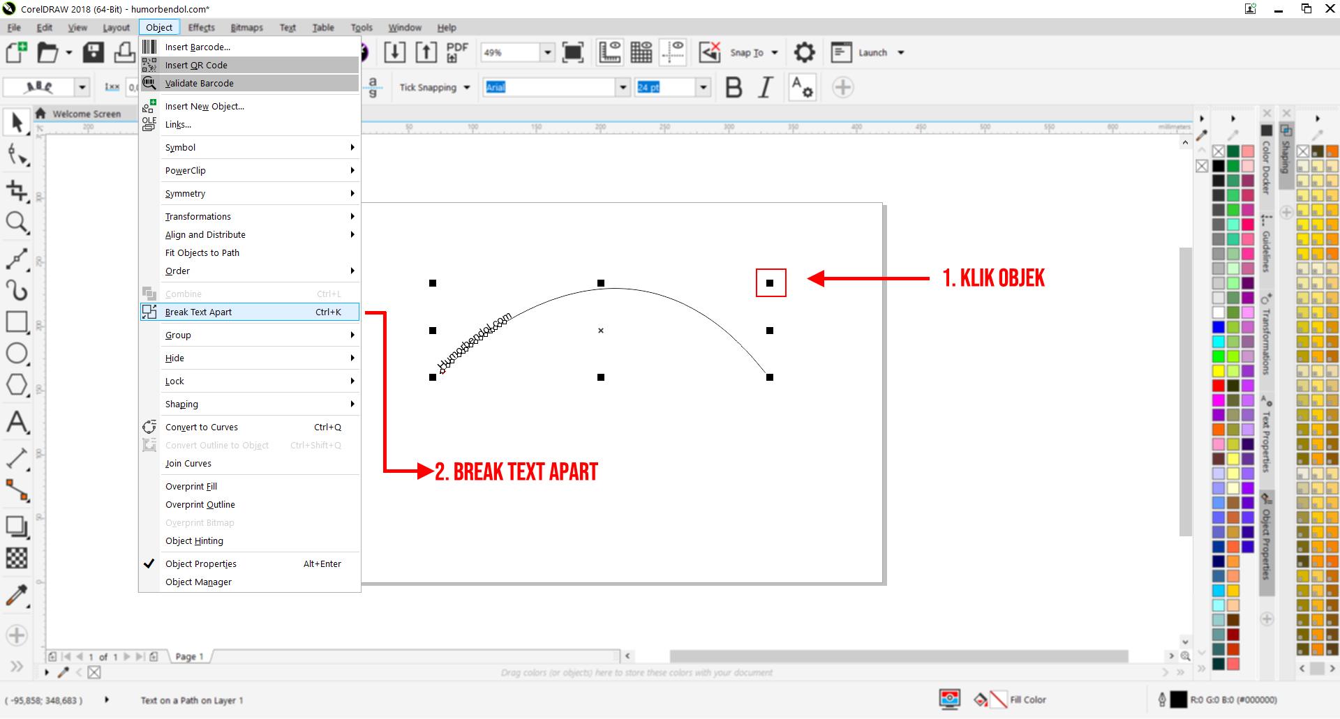 Tutorial Termudah Cara Membuat Tulisan Melengkung di Corel Draw